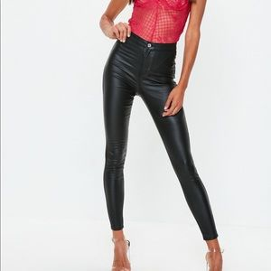 Missguided Leather Coat High Rise Skinny Jeans NWT